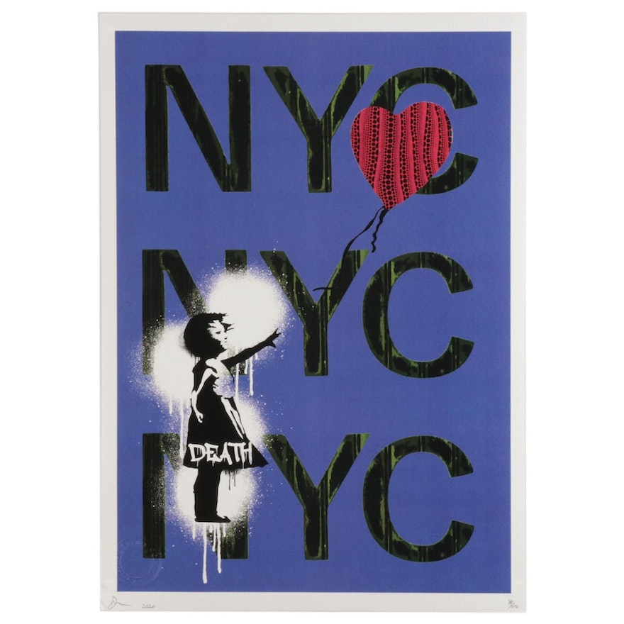 """Death NYC Pop Art Graphic Print Featuring Banksy's """"Girl With Balloon,"""" 2020"""