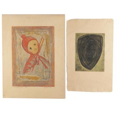 Yoshiro Nagase Relief Print and Anna-Eva Bergman Color Etching