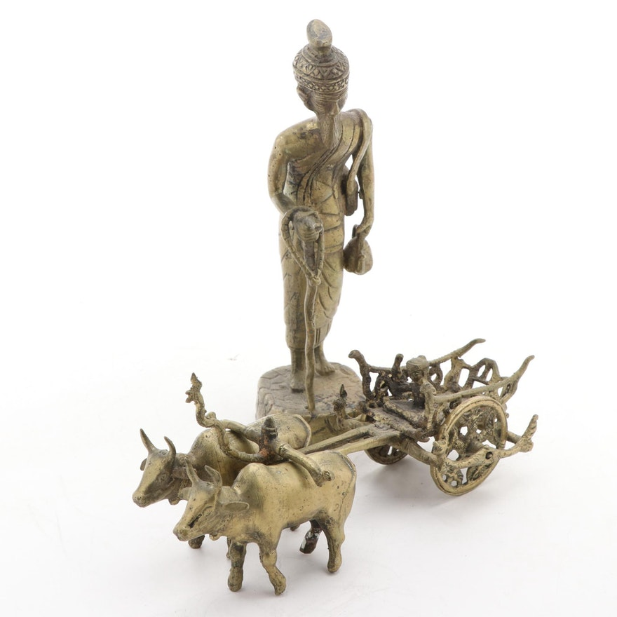 Dhokra Style Indian Brass Bullock Cart and Other Figurine