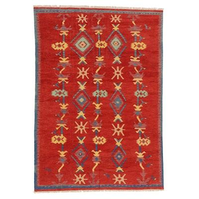 5'7 x 8' Handwoven Afghan Kilim Wool Area Rug