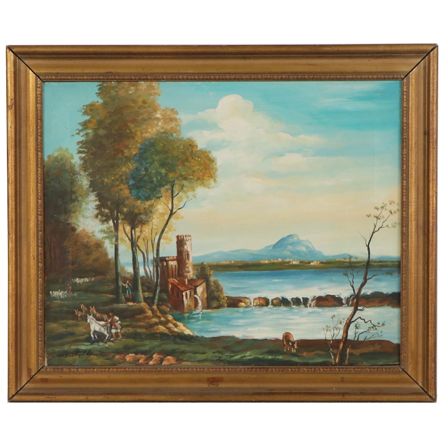 Genre Style Oil Painting of Waterfront Scene, circa 2000
