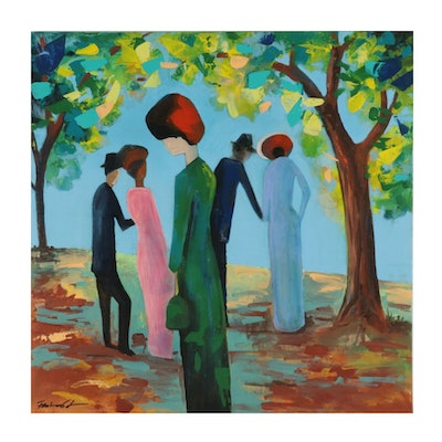 Farshad Lanjani Acrylic Painting of Figures in Park, 21st Century