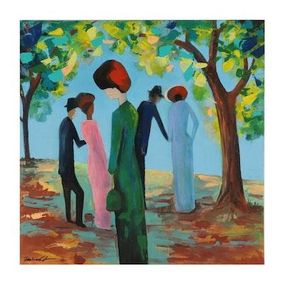 Farshad Lanjani Acrylic Painting of Figures in Park, 21st Century