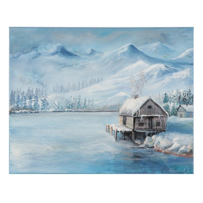 Farshad Lanjani Acrylic Painting of Lakeside Cabin in Winter, 21st Century