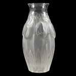 "Lalique ""Tulips"" Frosted Crystal Flower Vase"