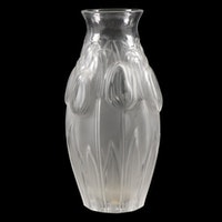 """Lalique """"Tulips"""" Frosted Crystal Flower Vase"""