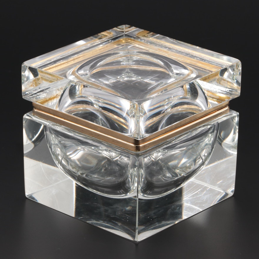 Italian Lead Crystal Trinket Box, Mid-20th Century