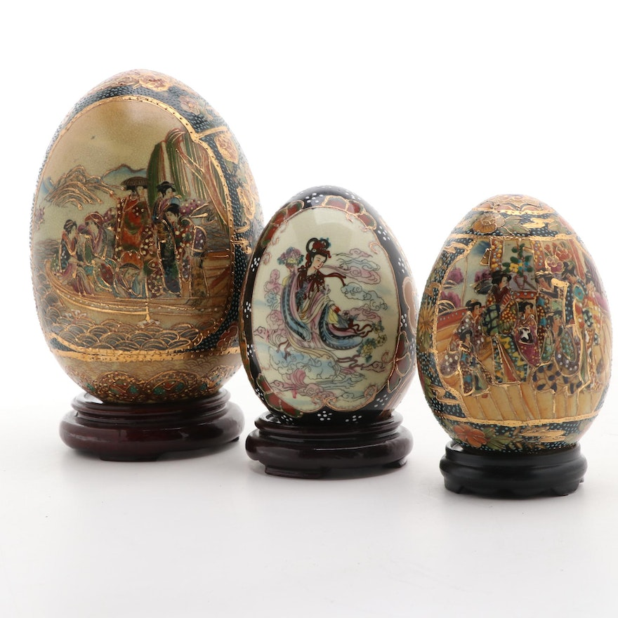 Chinese Royal Satsuma with Other Porcelain Decorative Eggs, Late 20th Century