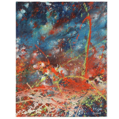 "Paul Feight Acrylic Painting ""Volcanic Explosion,"" 2005"
