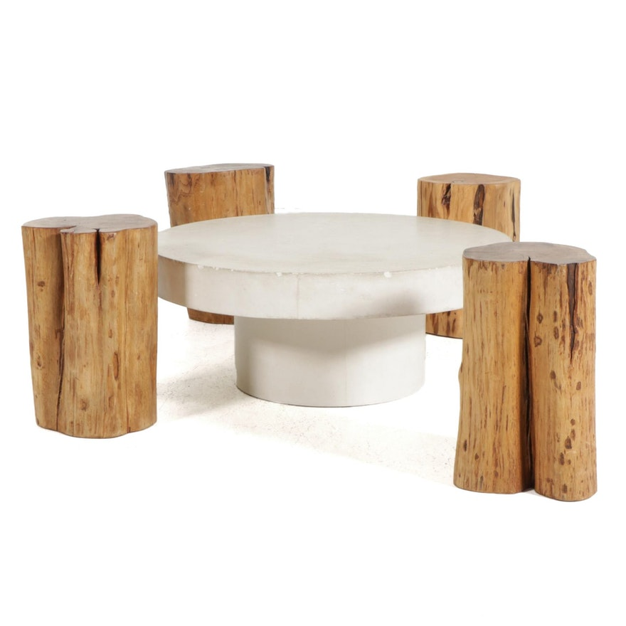 Poured Cement Cocktail Table with Four Cedar Stump Stools, 20th Century