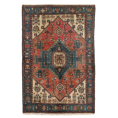 4'4 x 6'5 Hand-Knotted Persian Hamadon Wool Area Rug