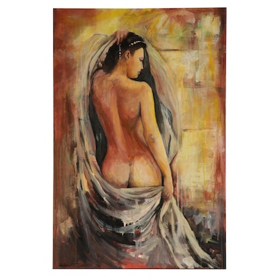 Farshad Lanjani Portrait Acrylic Painting of Nude Female Figure, 21st Century