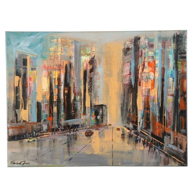 Farshad Lanjani Acrylic Painting of City Street at Sunset, 21st Century