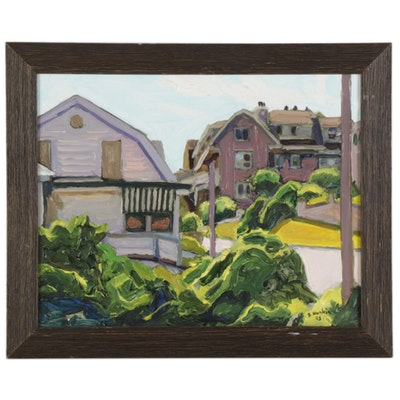 """Stephen Hankin Oil Painting """"Building in Falmouth, Cape Cod,"""" 2003"""