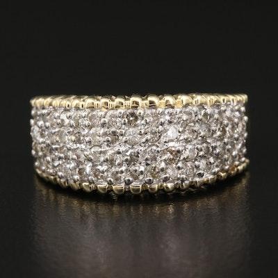 14K 1.00 CTW Diamond Ring with Ridged Edges