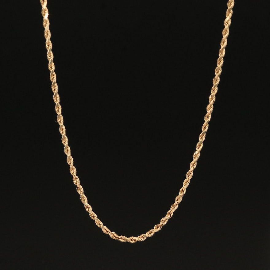 10K French Rope Link Necklace