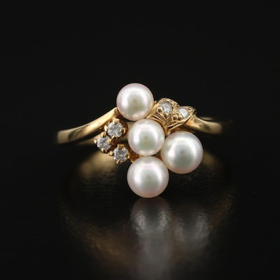 Mikimoto 18K Pearl and Diamond Cluster Ring