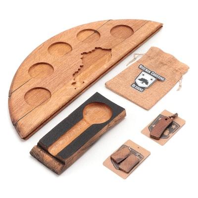 Wiseman Crossing Designs Oak Bourbon Flight Board, Ashtray, Earrings, and More