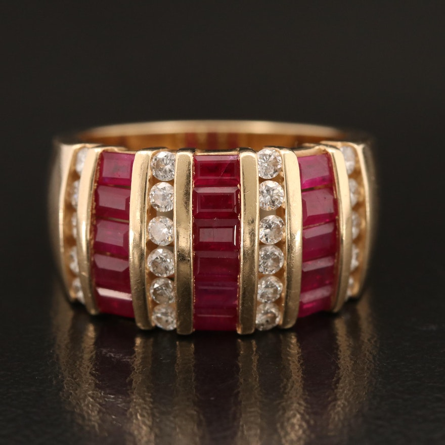 14K Channel Set Diamond and Ruby Tapered Band