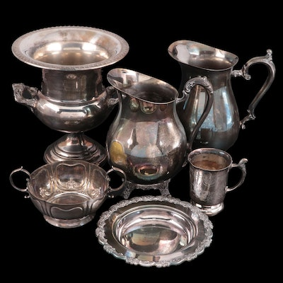 Rogers Silver Plate Pitchers with Silver Plate Trophy and Other Tableware