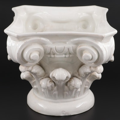 Spanish Ceramic Corinthian Capital Jardiniere,  21st Century
