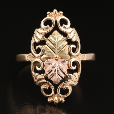 Coleman Black Hills Gold 10K Ring with Rose and Green Gold Accents