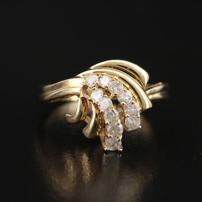 14K Diamond Flourish Ring