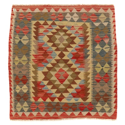 3'3 x 3'7 Handwoven Afghan Kilim Wool Accent Rug