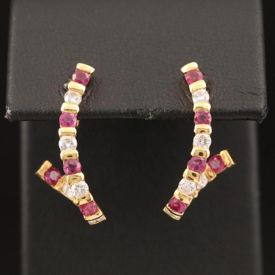 18K Diamond and Ruby Twisted J-Hoop Earrings