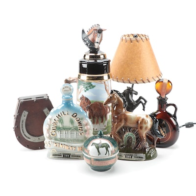 Jim Beam Derby Collector's Bottles with Stein and Other Horse Collectibles
