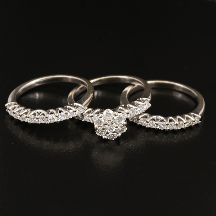 14K 1.86 CTW Diamond Cluster Ring and Trellis Setting Bands