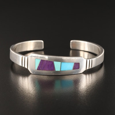 Aaron Toadlena Navajo Diné Sterling Cuff with Stone Inlay