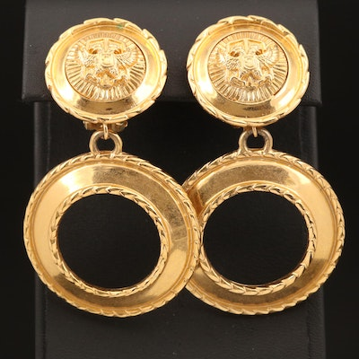 St. John Double Headed Eagle Clip Earrings
