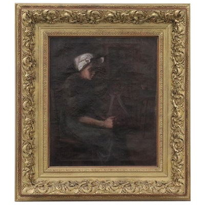 Dutch Style Genre Oil Painting of Woman Seated in Kitchen, Late 19th Century