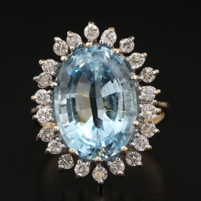 14K 8.50 CT Topaz and Diamond Ring
