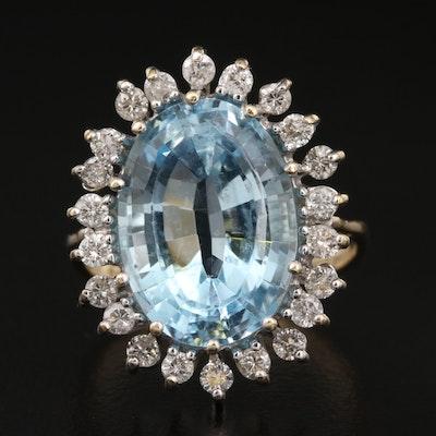 14K 8.50 CT Topaz and Diamond Ring