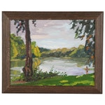 "Stephen Hankin Oil Painting ""By the River,"" 2004"