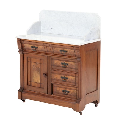 American Aesthetic Movement Walnut, Burl Walnut, and White Marble Washstand