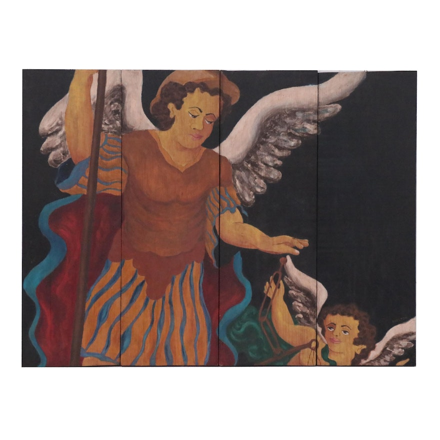 Quadriptych Oil Painting of Angels, Late 20th Century