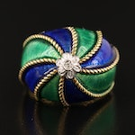 1960s Enamel Bombé Ring in 18K with Diamond and Braided Accents