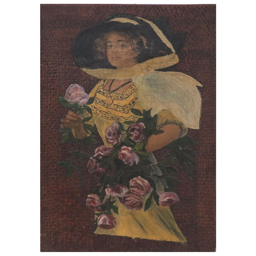 Oil Painting and Lithograph with Woman Holding Flowers, Mid-20th Century