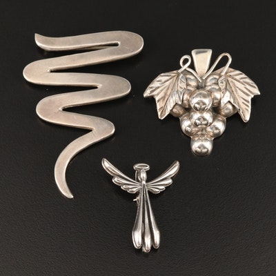 Sterling Silver Brooches Including Angel  and Grape Cluster