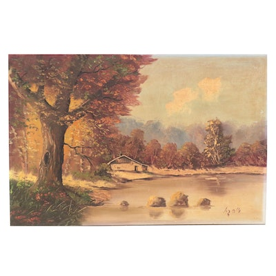 Landscape Oil Painting of Lake House, Early to Mid 20th Century