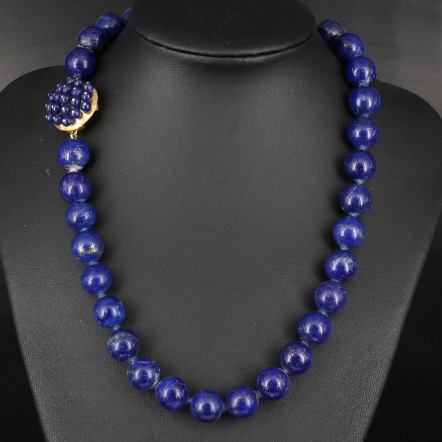 Lapis Lazuli Bead Necklace with 18K Clasp