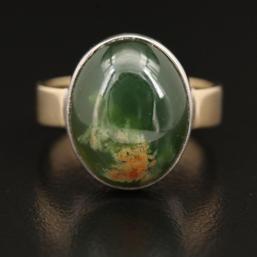 14K and Sterling Bezel Set Nephrite Ring