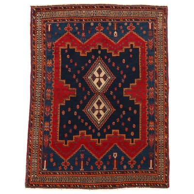 4'7 x 6' Hand-Knotted Persian Afshar Wool Area Rug