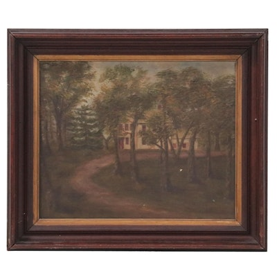 Landscape Oil Painting with House, Early 20th Century