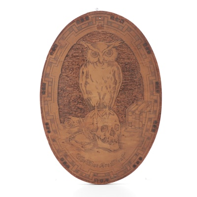 """Flemish Art Co. """"The Wise Are Silent"""" Pyrographic Wall Plaque, 1912"""