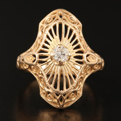 Art Deco Style 14K Diamond Openwork Ring