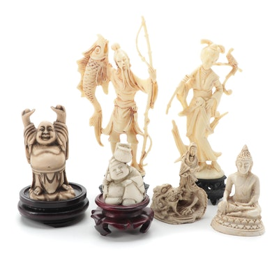 East Asian Style Cast Resin Folk Characters and Deities, Mid-Late 20th Century